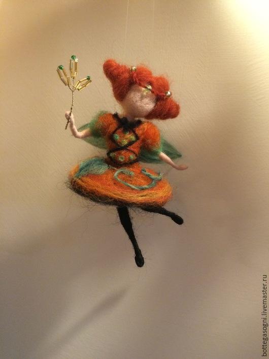 """Вальдорфская игрушка ручной работы. Ярмарка Мастеров - ручная работа. Купить Валяние Фея """"Тыквочка"""". Handmade. Оранжевый, вальдорфская кукла"""