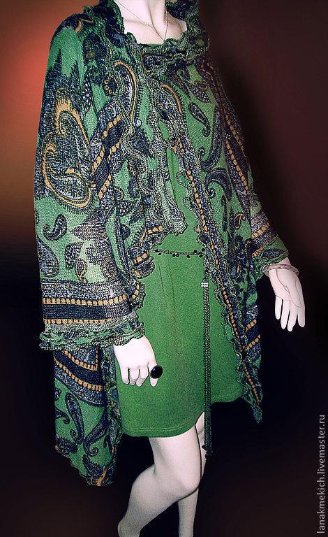 """Верхняя одежда ручной работы. Ярмарка Мастеров - ручная работа. Купить пальто трикотажное """"Сucumber"""". Handmade. Тёмно-зелёный"""
