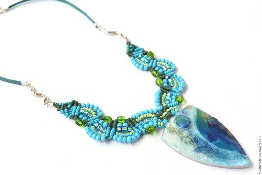 Колье, бусы ручной работы. Ярмарка Мастеров - ручная работа. Купить Leaf print ожерелье. Украшение из полимерной глины и микро макраме. Handmade.
