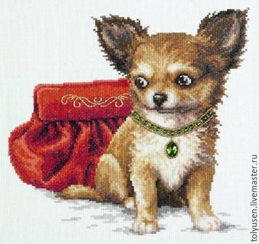 """Животные ручной работы. Ярмарка Мастеров - ручная работа. Купить Вышитая картина """"Очарование"""". Handmade. Чихуахуа, животные, собака, вышивка"""