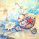 """Натюрморт ручной работы. Ярмарка Мастеров - ручная работа. Купить Картина """"Морское настроение"""" голубой красный море ракушки. Handmade."""