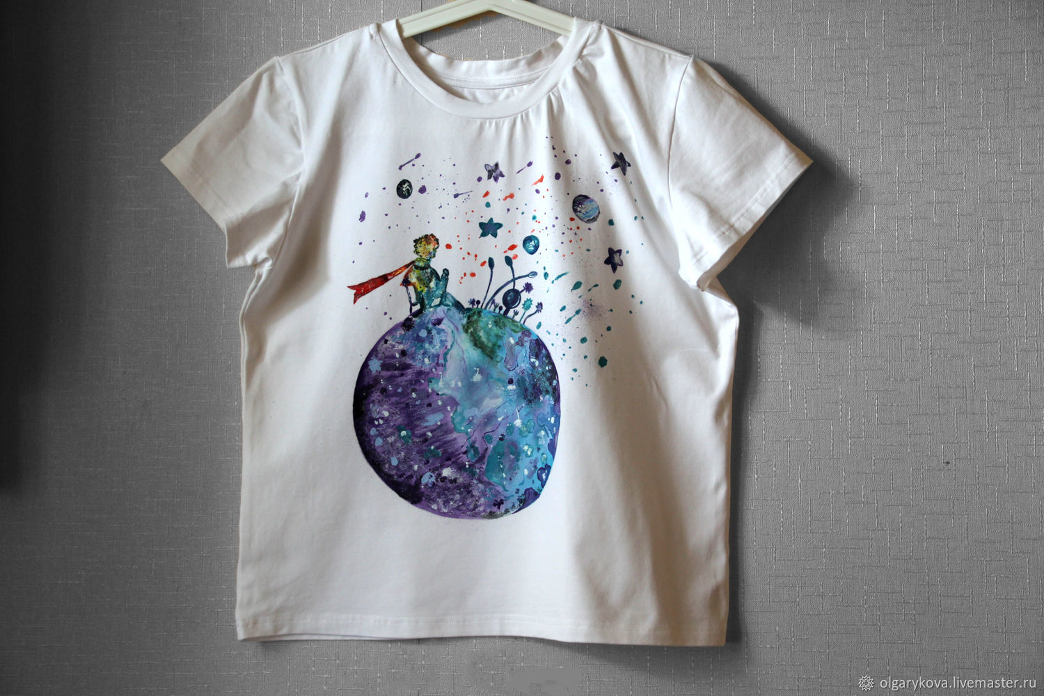 T-shirt Little Prince watercolor painting hand painted, T-shirts, St. Petersburg,  Фото №1