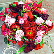 Цветы и флористика ручной работы. Ярмарка Мастеров - ручная работа Красный букет с клубникой. Handmade.