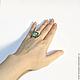 Кольцо `Квадрат` с малахитом (размер 17) ARIEL - Алёна - МОЗАИКА Москва Кольцо с малахитом Кольцо с перламутром Кольцо квадратное Кольцо - Мозаика из натуральных камней