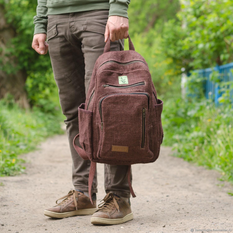 Backpack made of hemp 'Patan', dark brown, Backpacks, Nizhny Novgorod,  Фото №1