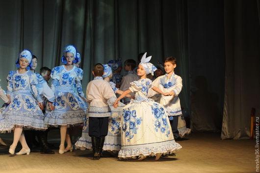 Детские танцевальные костюмы ручной работы. Ярмарка Мастеров - ручная работа. Купить платье.Гжель 05. Handmade. Голубой