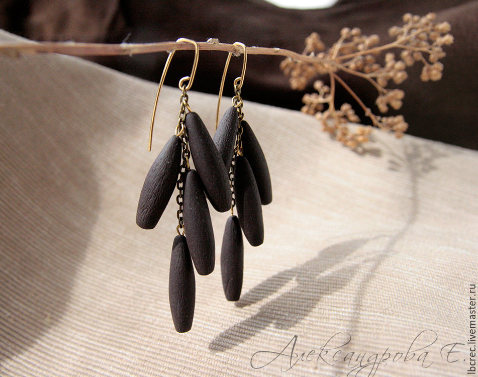 Large earrings 'Black chocolate' from polymer clay, Earrings, Barnaul,  Фото №1