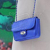 Аксессуары handmade. Livemaster - original item Handbag made of Python on a chain in the style of Chanel electric Blue. Handmade.