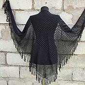 Аксессуары handmade. Livemaster - original item Black openwork knitted shawl with fringe. Handmade.