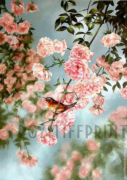 """Вышивка ручной работы. Ярмарка Мастеров - ручная работа. Купить Принт """"Птичка на ветке роз"""" Артикул П 270. Handmade."""