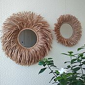 handmade. Livemaster - original item Mirror (raffia). Handmade.