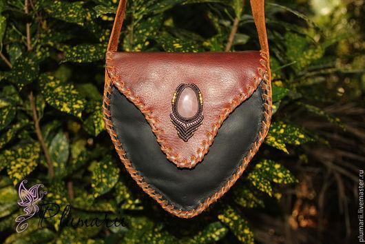 Женские сумки ручной работы. Ярмарка Мастеров - ручная работа. Купить СКИДКА!!! Кожаная сумка через плечо с розовым кварцем. Handmade.