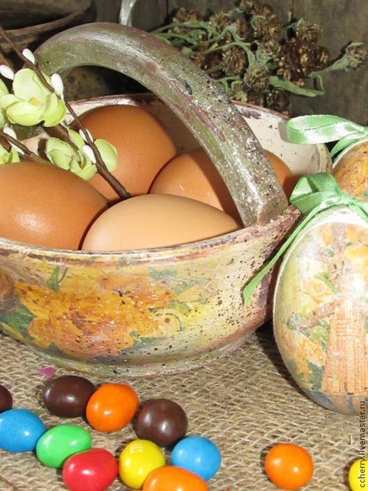 """Подарки на Пасху ручной работы. Ярмарка Мастеров - ручная работа. Купить Корзиночка """"Пасхальная, цветная"""". Handmade. Бежевый, пасхальное яйцо"""