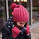 шапка, шапки, шапка вязаная, шапка женская, зимняя шапка, шапка с помпоном, розовая шапка,модные шапки, шапка в подарок, подарок для девушки, подарок на новый год, розовый, красный, фуксия, яркая шапк