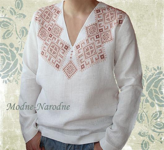 Льняная сорочка с ручной вышивкой Святкова. Модная одежда с ручной вышивкой. Творческое ателье Modne-Narodne.