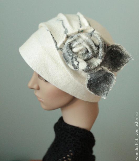 """Шапки ручной работы. Ярмарка Мастеров - ручная работа. Купить Шляпка """"Мраморная роза"""". Handmade. Белый, шляпа, теплая шапочка"""