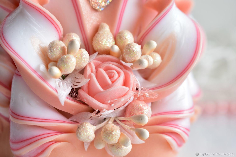 Персиковый набор свадебных резных свечей, Свадебные свечи, Тамбов,  Фото №1