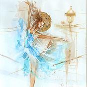 Картины и панно handmade. Livemaster - original item Fly ballet:  Dance in the turquoise - watercolor paintings. Handmade.