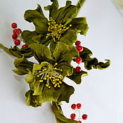 Украшения handmade. Livemaster - original item Leather flowers Brooch Green flowers. Handmade.