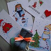 Открытки handmade. Livemaster - original item A set of authors postcards
