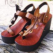 """Обувь ручной работы. Ярмарка Мастеров - ручная работа Кожаные босоножки на платформе """"Leaf"""". Handmade."""