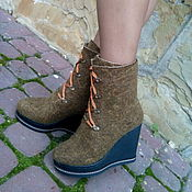 Обувь ручной работы. Ярмарка Мастеров - ручная работа Сапожки шерстяные зимние Хвоя. Handmade.