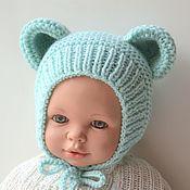 Шапки ручной работы. Ярмарка Мастеров - ручная работа Шапочка с ушками для новорожденного, шапочка на выписку из роддома. Handmade.