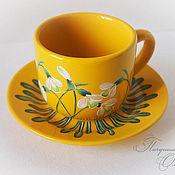 """Посуда ручной работы. Ярмарка Мастеров - ручная работа Чайная пара """"Подснежники"""" желтая. Handmade."""