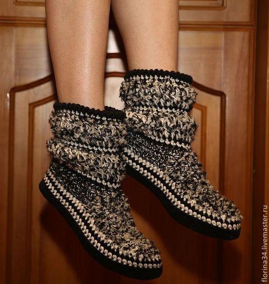 Обувь ручной работы. Ярмарка Мастеров - ручная работа. Купить Тапочки-сапожки  Черно-белый меланж. Handmade. Чёрно-белый