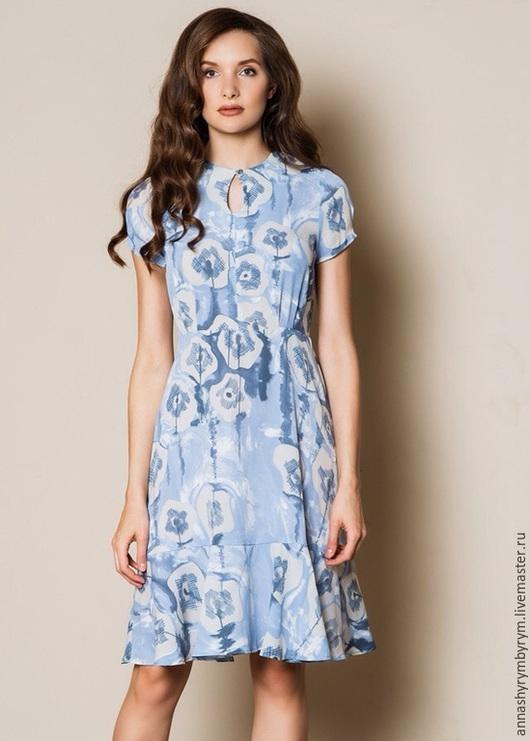 Платья ручной работы. Ярмарка Мастеров - ручная работа. Купить Платье голубое с воланом. Handmade. Голубой, креп, платье летнее