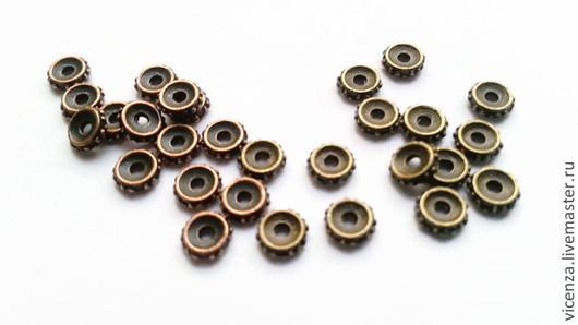 Бусины (спейсер) разделители 5 мм. Цвет: медь, бронза Толщина   - 1 мм Цена указана за 1 шт.