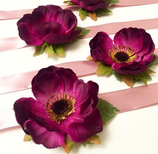 Браслеты ручной работы. Ярмарка Мастеров - ручная работа. Купить Браслеты с цветами для подружек невесты. Handmade. Девичник, браслет, анемон