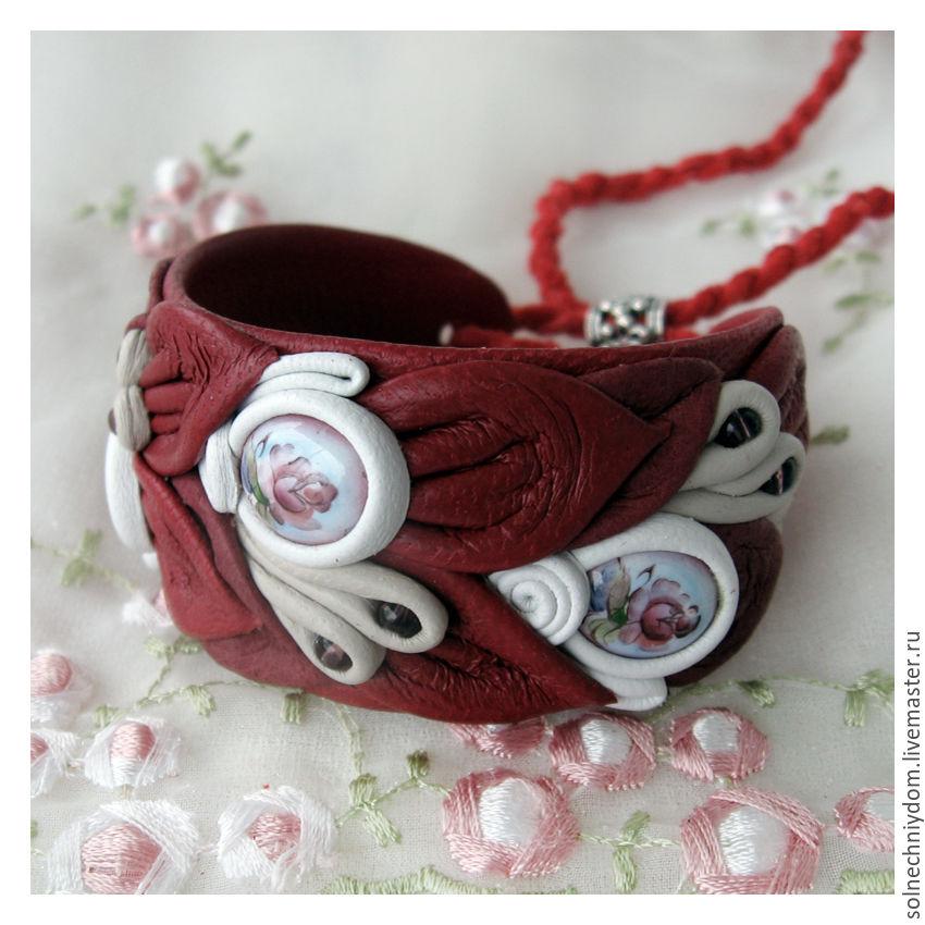 """Браслет """"Рубиновое вино"""", женский кожаный браслет, Браслет из бусин, Муром,  Фото №1"""