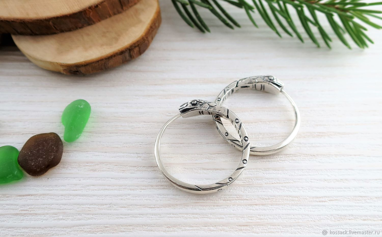 Ouroboros earrings 22 mm white unisex, Earrings, Zaporozhye,  Фото №1