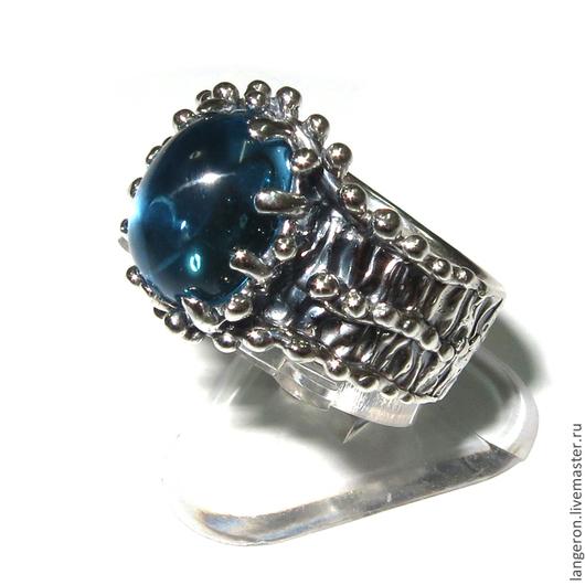 """Кольца ручной работы. Ярмарка Мастеров - ручная работа. Купить Серебряное кольцо """"Бутон"""". Серебро 925 пробы. Голубой топаз. Handmade."""