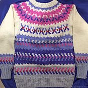 Одежда handmade. Livemaster - original item Knitted sweater lopapeysa cashmere grey blue blue white pink. Handmade.