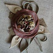 """Украшения ручной работы. Ярмарка Мастеров - ручная работа Роза- брошь из кожи """"Шебби шик"""". Handmade."""