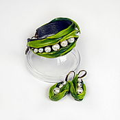 Украшения handmade. Livemaster - original item Bracelet and earrings lilies of the valley (polymer clay and pearls). Handmade.