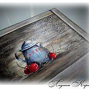 """Для дома и интерьера ручной работы. Ярмарка Мастеров - ручная работа Поднос панно """"Вишневый вечер"""". Handmade."""