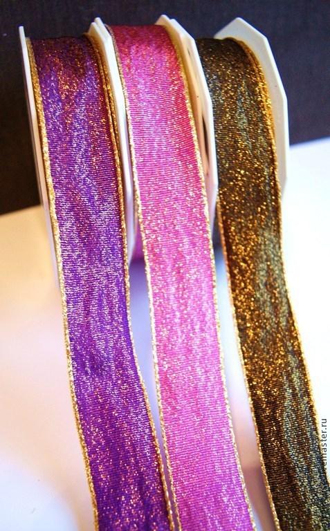 лента `Блестящая парча` 24 мм фиолетовая, розовая, коричневая
