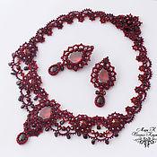 Бордовое авторское колье Изабелла, анкарс фриволите винный цвет