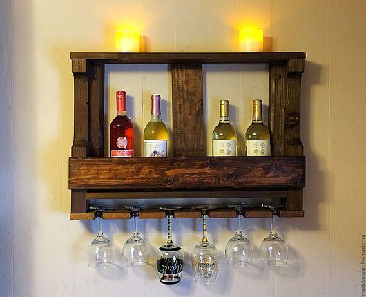 Мебель ручной работы. Ярмарка Мастеров - ручная работа. Купить Полка для вина. Handmade. Полка для вина, полка из дерева, виноделие