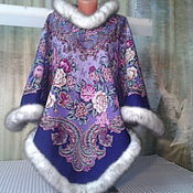 Одежда ручной работы. Ярмарка Мастеров - ручная работа Пончо с капюшоном из павлопосадского платка. Handmade.