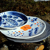 """Посуда ручной работы. Ярмарка Мастеров - ручная работа Набор из 3-х керамических тарелок """"Первоцвет"""". Handmade."""
