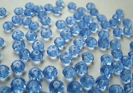 Для украшений ручной работы. Ярмарка Мастеров - ручная работа. Купить Хрусталь, рондели граненые, 6 мм, нежно-голубой, по 10 шт. Handmade.