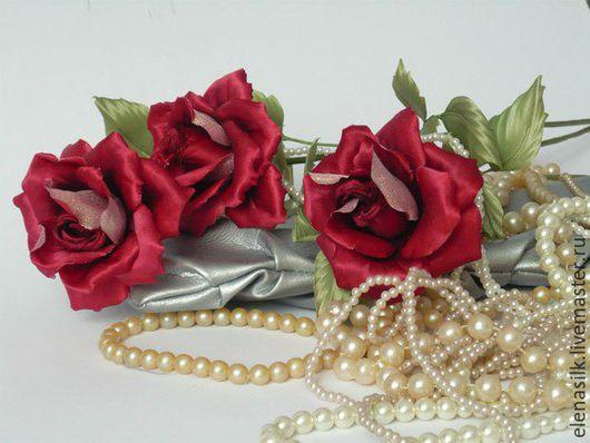 Заколки ручной работы. Ярмарка Мастеров - ручная работа. Купить Заколка роза Черная Магия. Handmade. Бордовый, страсть