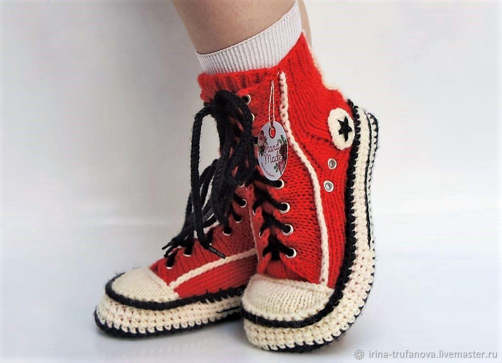 Вязаные кеды-тапочки.Вязаные носки. Вязаные тапочки, Тапочки, Бобров,  Фото №1