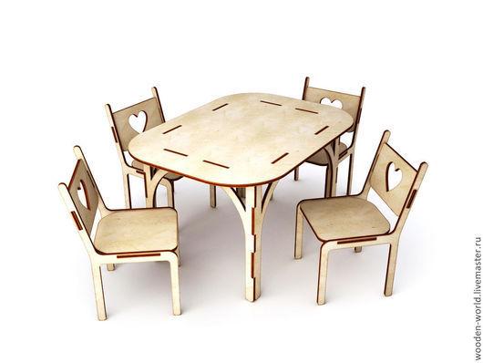 Куклы и игрушки ручной работы. Ярмарка Мастеров - ручная работа. Купить Кукольный кухонный столик со стульями(большой)  заготовка. Handmade.