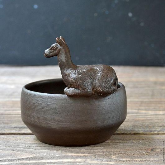 """Пиалы ручной работы. Ярмарка Мастеров - ручная работа. Купить Пиала """"Лама"""". Handmade. Коричневый, лама, миска с ламой"""