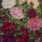 Картины ручной работы. Ярмарка Мастеров - ручная работа Картина из шерсти пионы в саду. Handmade.